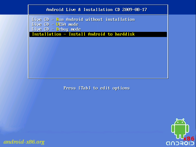 Android x86 Install Boot Select