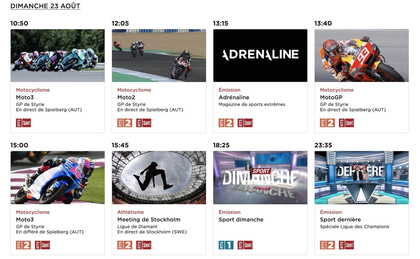 MotoGP en direct sur RTS