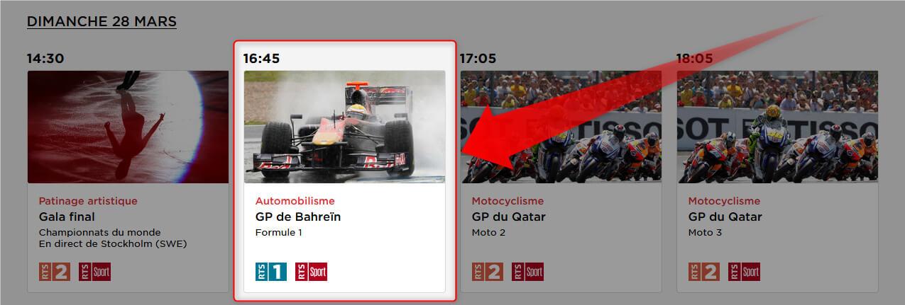 Programme TV RTS F1 GP Bahrein