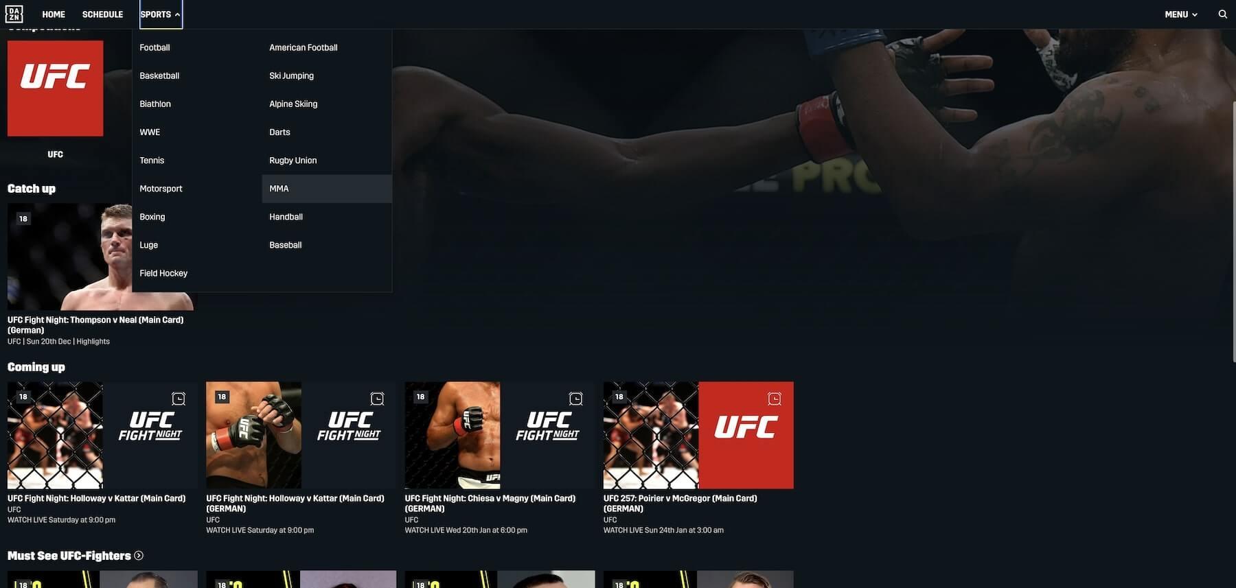 UFC en direct sur DAZN