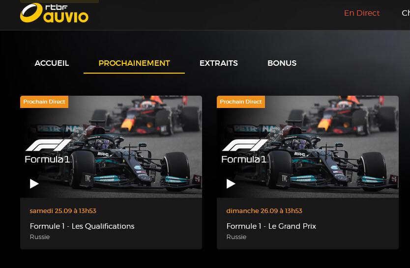 Programme TV RTBF F1 GP Russie