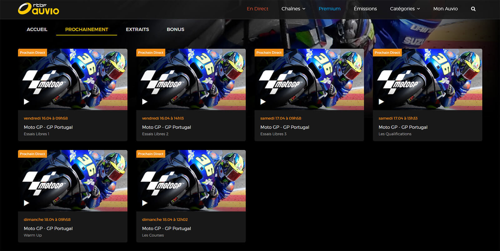 Programme TV RTBF MotoGP GP Portugal